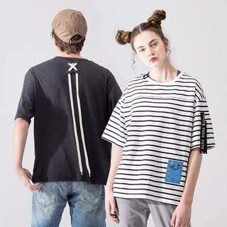 UNISEX LACE UP BACK T SHIRT/Dark grey+ Black white stripes