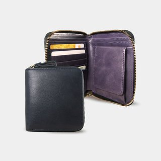 Influxx Montage Leather Bi-fold Zipper Wallet - Purple Amethyst