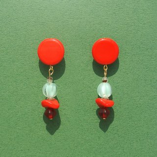 Solid red circular glass / pink green pumpkin / red dish beads earrings