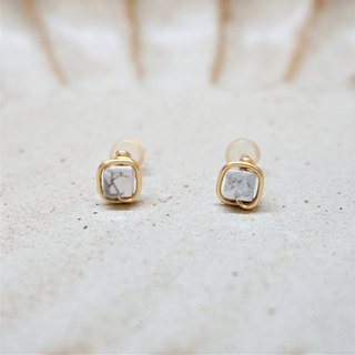 << Gold wire frame ear pin - white pine stone >> 4mm square white turquoise (other ear clip models)