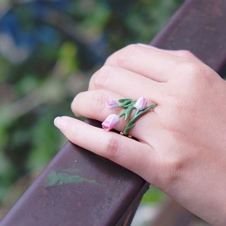 Tulip Ring , Flower Ring , Handpainted GOODAFTERNINE