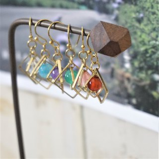 << Rotating Crystal Ball Series - Natural Stone Brass Earrings >> Can Change Ear Clips 925 Sterling Silver Ears