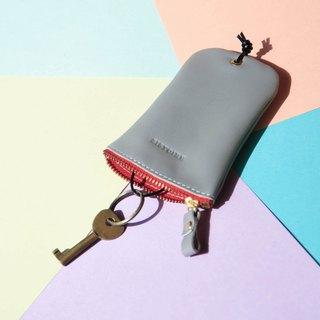 [Keys' Sweet Home / Key Case] ​​ZiBAG-031/ fog grey (red zipper) Misty Gray