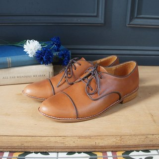 GT full leather piping oxford shoes - brown