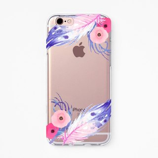 iPhone Rubber Case - Violet Feather for iPhones  - Clear Flexible Rubber TPU