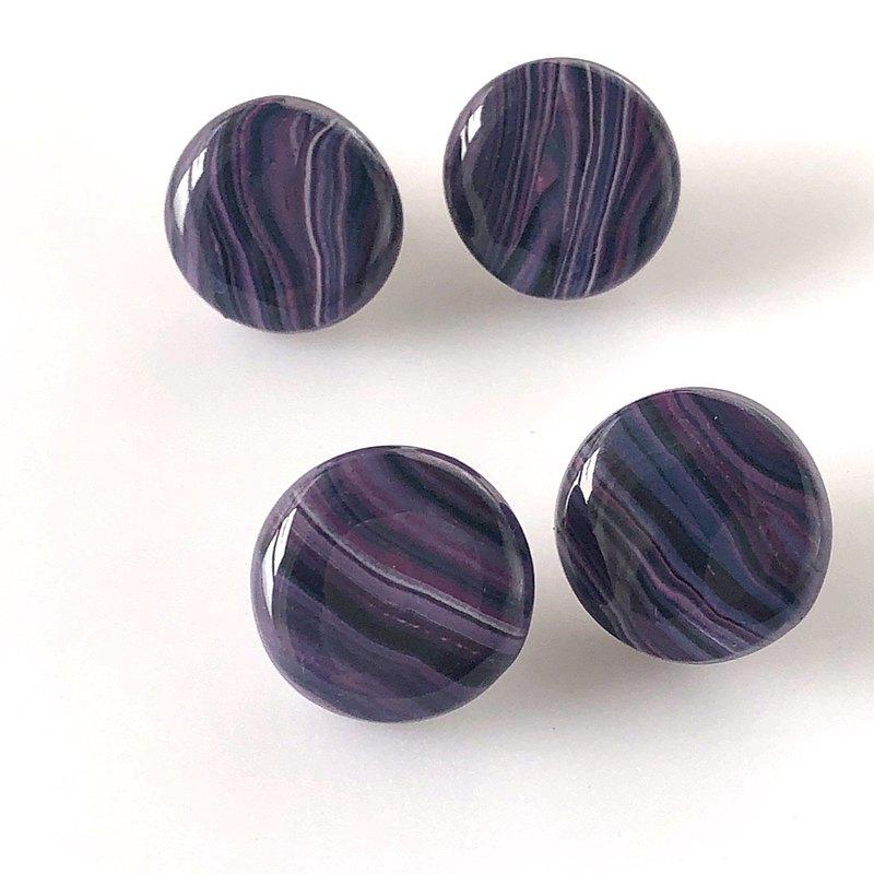 酷紫色深大理石花紋耳環/耳環/用於金屬過敏/酷/全季/樹脂/獨立