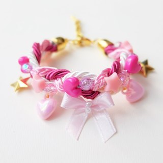 Cutie pink bow braided bracelet with charms