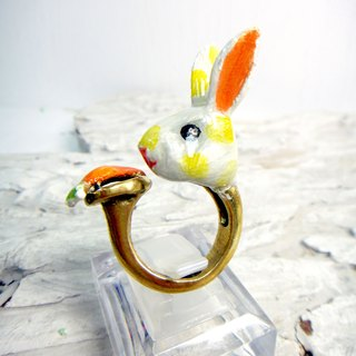 Brass hand painted rabbit Epoxy ring wave point Shuiyu cute hand-made hand-made art crafts gift girls will love