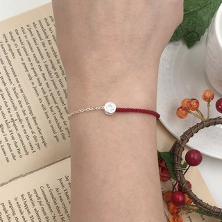 Half braided half silver chain 925 sterling silver silver diamond red thread braided bracelet month old lucky peace