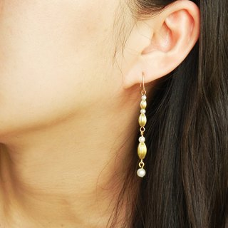 *Coucoubird*rice brass pearl earrings