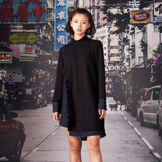 kitann ino jeans stitching wool knit dress