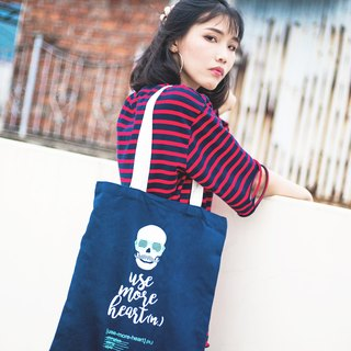 Use of More Heart Tote Bag Signature T brand personality design series original blue and white handbag canvas bag