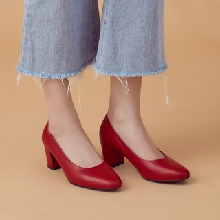 Micro-shaping effects! Commuters OK square head heel shoes smoked red full leather