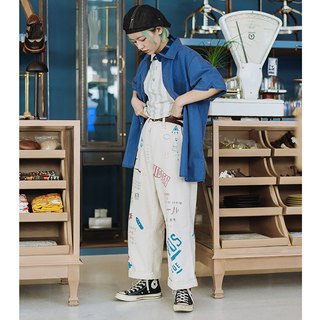 Bipolar life graffiti straight casual national tide tooling trousers