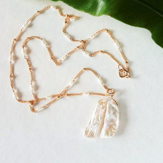 14kgf*Japanese Freshwater pearl station necklace+Top