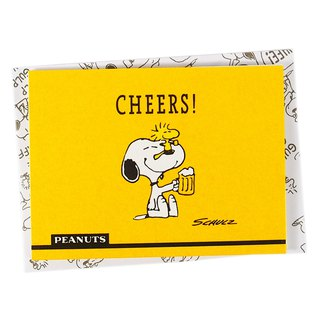 Snoopy drinks beer with confused Tucker [Hallmark-Peanuts - Stereo Card]