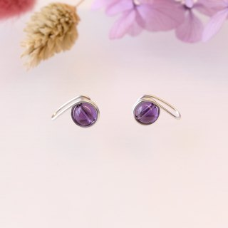 . Hand made earrings. Amethyst Amethyst Ear Clip/Auricular Purple