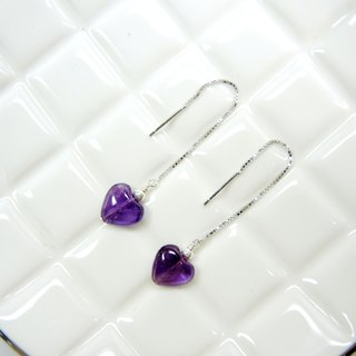Elegant fashion heart-shaped amethyst 925 silver earrings earrings