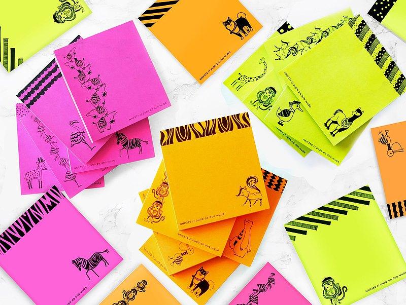 反光彩色筆記本與動物圖案