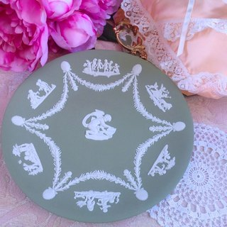 British bone china Wedgwood jasper green jasper relief Greek mythology cupid cake plate