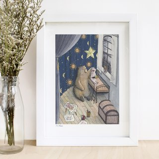 "Bear & Pig- ""Cry""- illustrated print (frame is not included)"