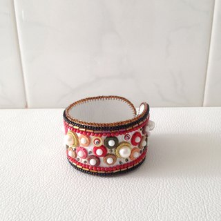 【beads embroidery】 red dot simple bracelet