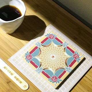 Taiwan Majolica Absorbent Tiles Coaster【A Blessing Sent From The Heavens-GOLD】