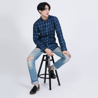 (SIZE S) PREMIUM // navy blue check // men slim fit