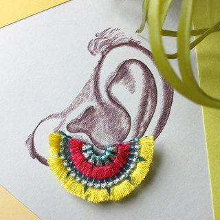 ARRO Embroidery Clip-on earing / bloom lemon yellow