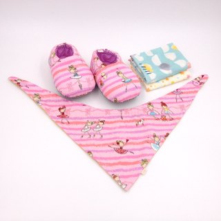 Ballet Girl - Miyue Baby Gift Box (toddler shoes / baby shoes / baby shoes + 2 handkerchief + scarf)