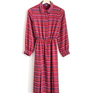 Vintage brush touch vintage long-sleeved dress