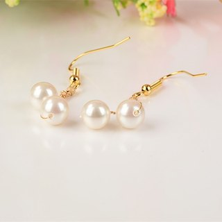 Time of love - cotton 14 gold pearl earrings girlfriend gift