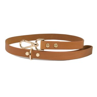Cittadino Italian vegetable tanned leather leash - coffee copper