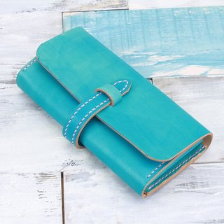 [Cut line] special edition pure hand-made leather tanned leather leather wallet buckle organ long wallet -Ariel turquoise