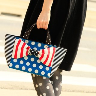 ribbon tote bag Love Comedy S size Blue Red borders dots stripes shoulder belt