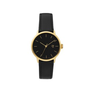 Chpo Brand Swedish Brand - Khorshid Mini Gold Black Dial Black Leather Watch