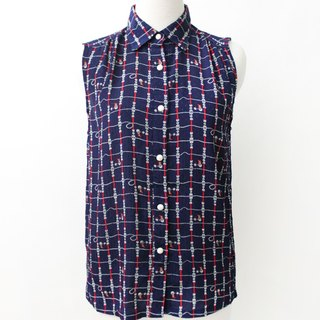 【RE0916T190】 early autumn retro geometric print lattice dark blue sleeveless ancient shirt