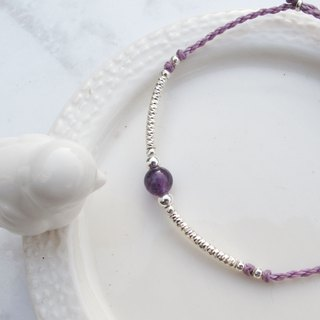 Big staff Taipa [manual silver] amethyst × pattern silver tube Brazilian wax rope bracelet lucky wisdom