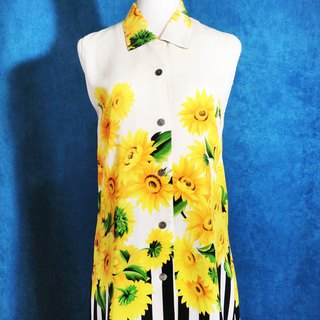 Ping-pong vintage [vintage shirt / Sunflower Stripe Long chiffon vintage sleeveless shirt / blouse] abroad back VINTAGE