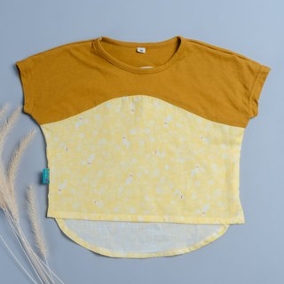 Double yarn T-shirt - mustard kitten hand made non-toxic children's clothing T-shirt cotton gauze towel