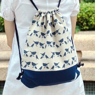 Drawstring backpack  Navy birds b
