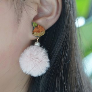 Deer Tower original design embroidery hand made New Year gift big chestnut earring