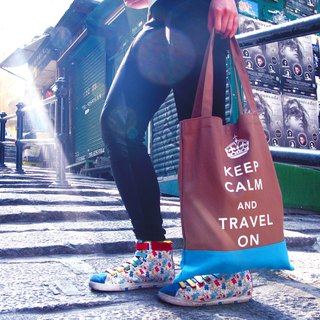 Keep Calm & Travel On Book Tote - Brown - Light blue