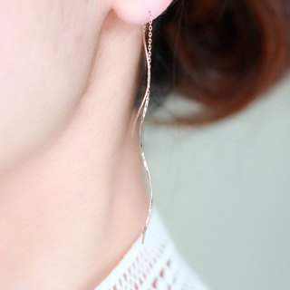 K10 rose gold - solid gold nuance wave pierced earrings