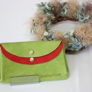 Small wallet yellow-green of pigskin