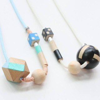 Puppets large wooden ball series long paragraph style necklace 2 rope blue wooden bead necklace wooden Ball Necklace