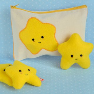 Cotton Pencil Case  with Stars - School - Pouch