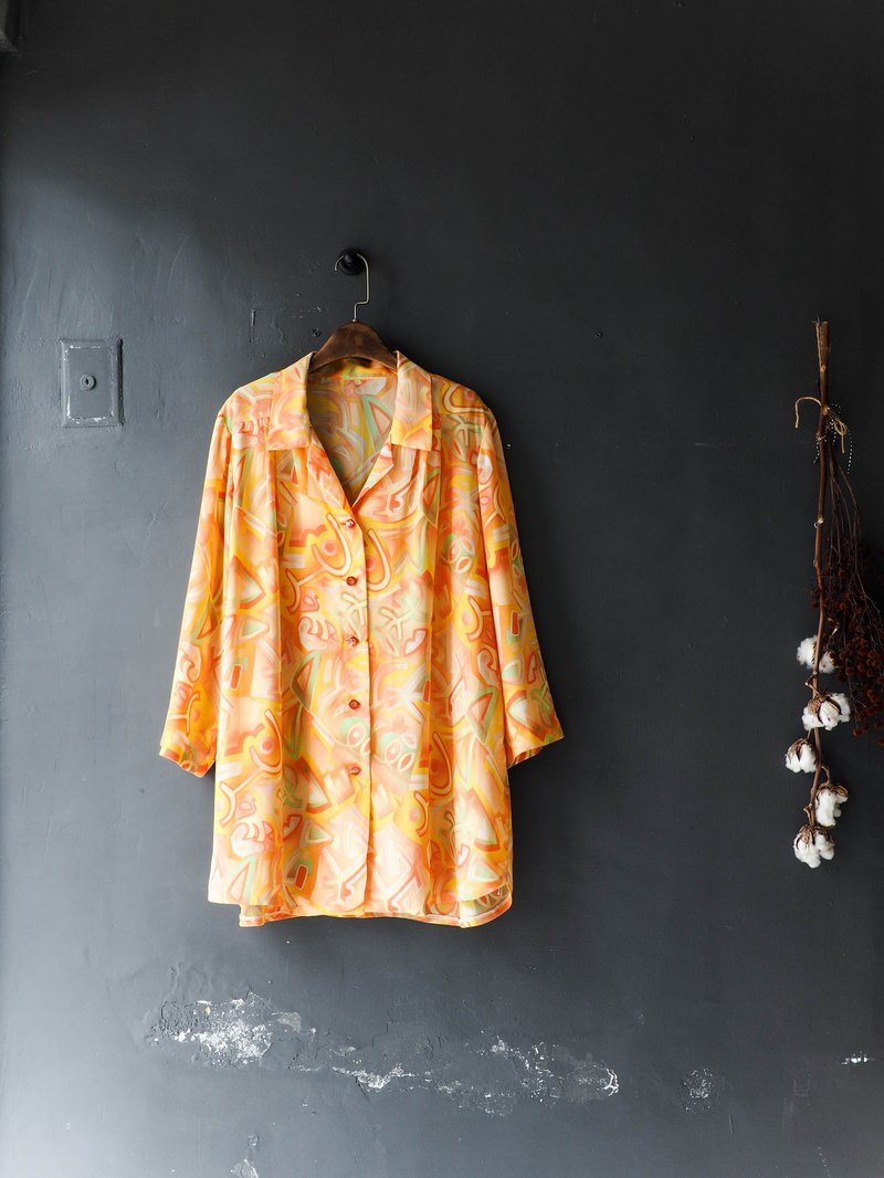 River Water Mountain - Nagasaki Chenghuang transparent yarn double youthful antique silk-spun gauze shirt top