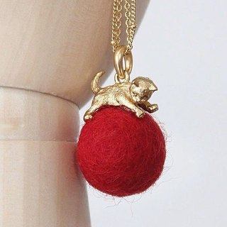 Kitten and Wool Ball Necklace