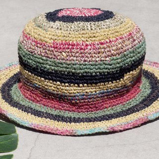 Hand-knitted cotton and linen cap knit hat fisherman hat sun hat straw hat - French rainbow forest striped hat